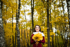 Woman with bunch of autumn orange maple. Leaves royalty free stock image