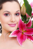 Woman with bunch of flowers Royalty Free Stock Photos