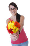 Woman with a bunch of flowers Royalty Free Stock Photo