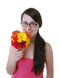 Woman with a bunch of flowers Royalty Free Stock Photos