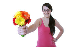 Woman with a bunch of flowers Stock Image
