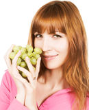 Woman with bunch of grape Royalty Free Stock Photography