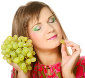 Woman with bunch of grape. Stock Photography