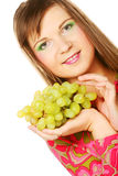 Woman with bunch of grape. Stock Photos