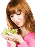 Woman with bunch of grape Stock Photos