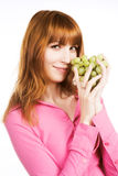 Woman with bunch of grape Stock Photography