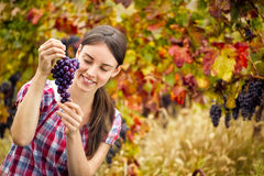 Woman with  bunch grape Stock Photo