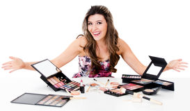 Woman with a bunch of make up Stock Photos