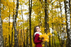 Woman with bunch of maple leaves. Woman with bunch of autumn orange maple leaves stock image