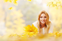 Woman with bunch of maple leaves stock images