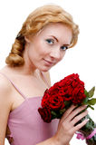 Woman with bunch of roses Stock Image