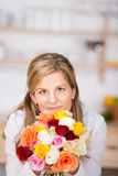 Woman With a bunch of roses Stock Photos