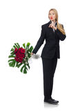 Woman with bunch of roses on white Stock Photo