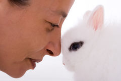Woman and bunny stock photo