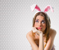 Woman with bunny ears Royalty Free Stock Photo