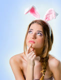 Woman with bunny ears Royalty Free Stock Image