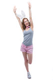 Woman with bunny ears raised hands up Stock Photos