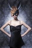 Woman in bunny mask Stock Image