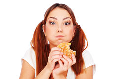 Woman with burger. Portrait of woman with burger. isolated on white Stock Photo