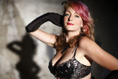 Woman in burlesque outfit Stock Images