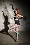Woman in burlesque outfit Stock Photo