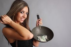 Woman with burnt money Stock Photos