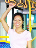 Woman by bus Stock Photos