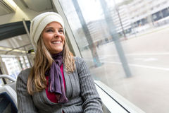 Woman in a bus Royalty Free Stock Photography