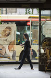 Woman and a bus Royalty Free Stock Photography