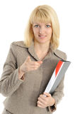 woman in a business attire, holds a folder Royalty Free Stock Image