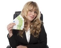 Woman in Business Attire Showing Money Stock Images