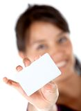 Woman with a business card Stock Photo