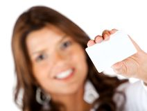 Woman with a business card Stock Photos