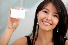 Woman with a business card Stock Images
