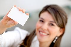 Woman with a business card Stock Photography