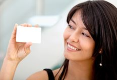 Woman with a business card Royalty Free Stock Photo