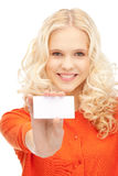 Woman with business card. Bright picture of confident woman with business card Royalty Free Stock Images