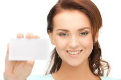 Woman with business card. Bright picture of confident woman with business card Royalty Free Stock Photos