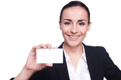 Woman with business card. Royalty Free Stock Photo