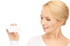 Woman with business card. Bright picture of confident woman with business card Stock Image