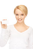 Woman with business card. Bright picture of confident woman with business card Stock Images