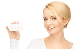 Woman with business card. Bright picture of confident woman with business card Royalty Free Stock Photography
