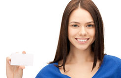 Woman with business card Stock Photos