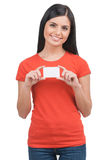 Woman with business card. Stock Images