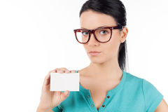 Woman with business card. Royalty Free Stock Photography