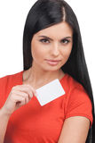 Woman with business card. Royalty Free Stock Photos
