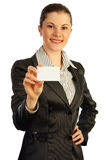 Woman with a business card. Isolated on whit Royalty Free Stock Images