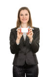 Woman with a business card. Isolated on white Stock Photo