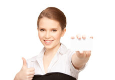 Woman with business card Stock Photo