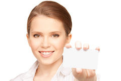 Woman with business card Royalty Free Stock Image